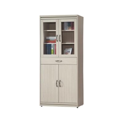 柏蒂家居-希爾頓2.8尺四門一抽書櫃/收納置物櫃-83x40x194cm