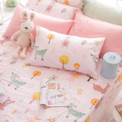 OLIVIA  小森林 粉 特大雙人床包美式枕套三件組 300織精梳純棉 台灣製