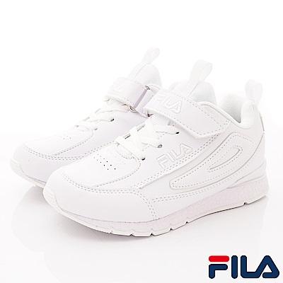 FILA頂級童鞋 皮質簡約機能款 EI09S-111白(中大童段)