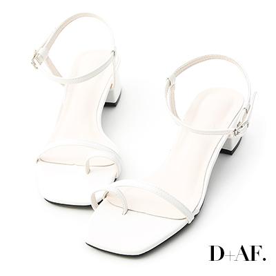 D+AF 繽紛涼夏.一字套指細帶中跟涼鞋*白