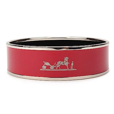 HERMES Caleche經典馬車LOGO印花圖騰琺瑯窄版手環-暗紅X銀