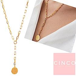 葡萄牙精品 CINCO Benedicte 925純銀鑲24K金硬幣項鍊 垂墜式Y字
