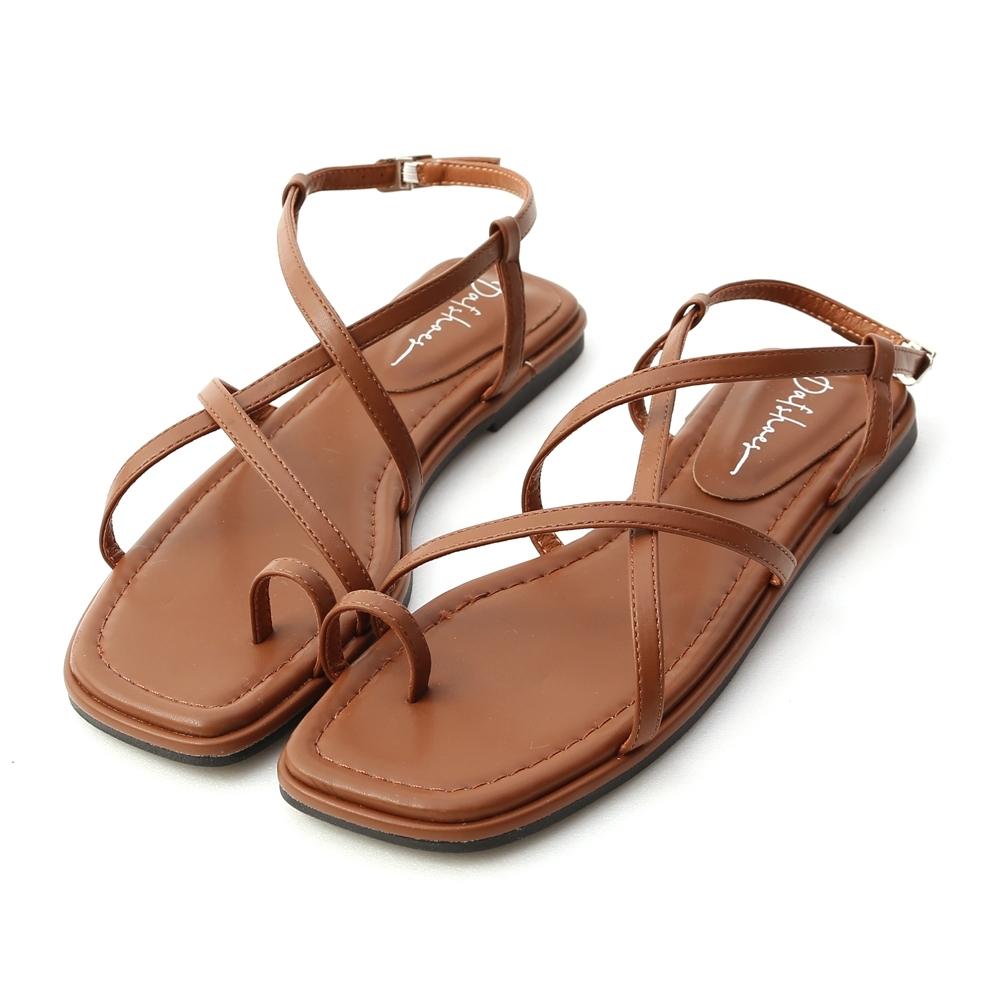 D+AF 夏日氣息.層次感交叉套指涼鞋*棕
