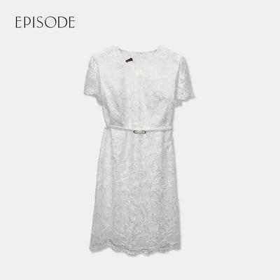 EPISODE- 白色重磅蕾絲刺繡收腰V領洋裝
