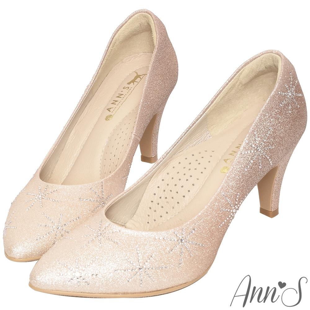 Ann'S艾莎女王-漸層色調冰雪手工燙鑽尖頭婚鞋-粉(版型偏小)