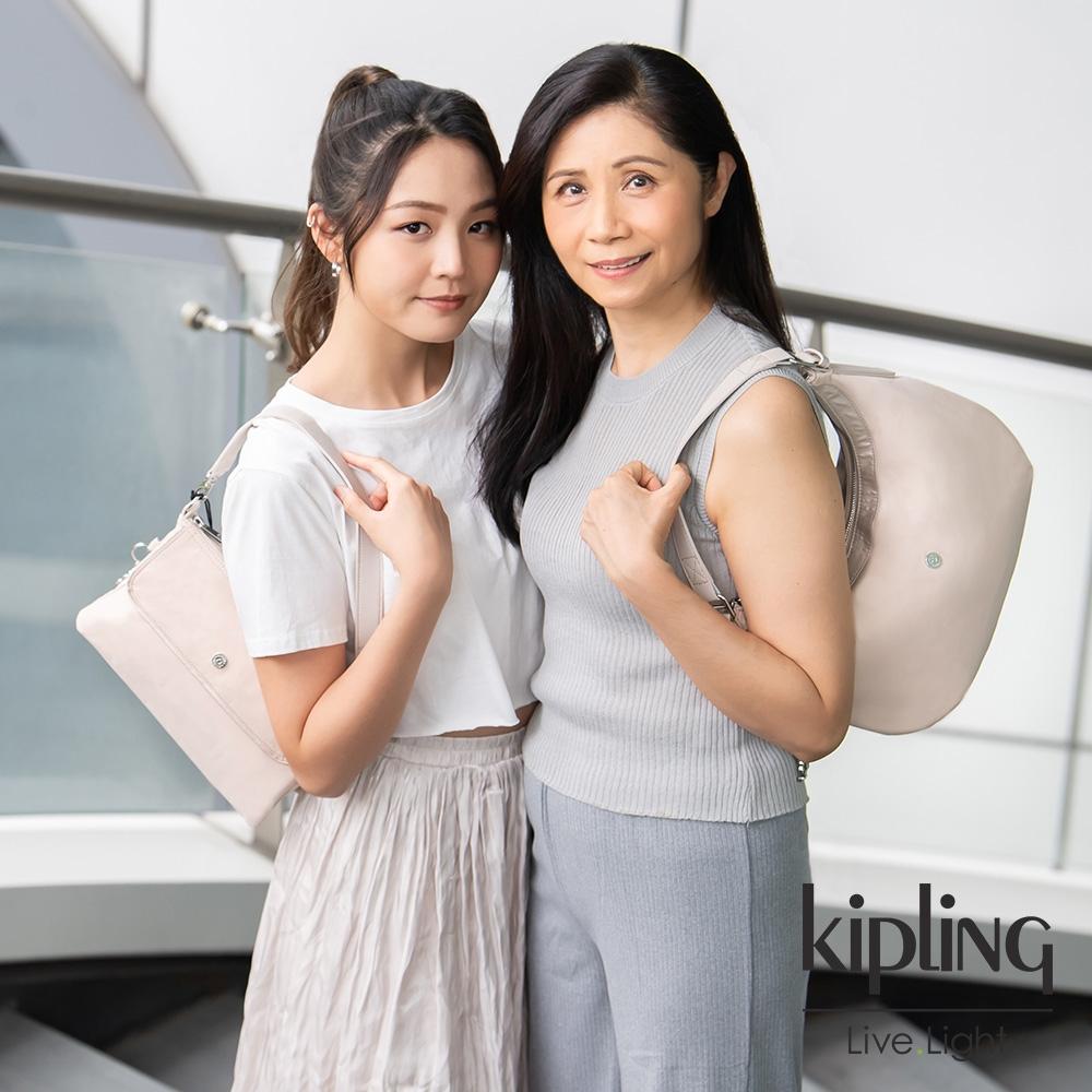 Kipling 雲朵象牙白前袋翻蓋單肩側背包-ETKA M