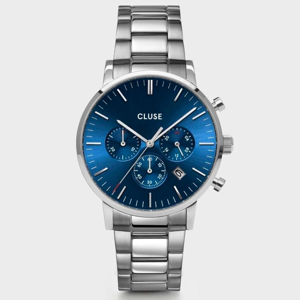 CLUSE Aravis腕錶/ 銀框藍底 計時錶-40mm