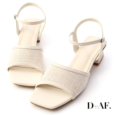 D+AF 南法風情.亞麻布拼接低跟涼鞋*米白