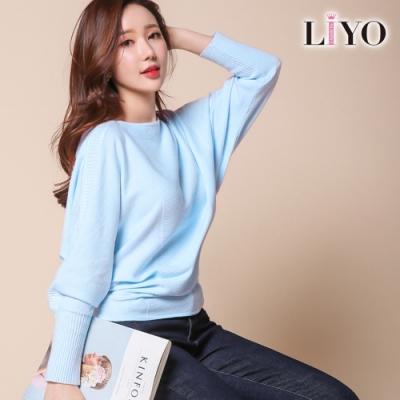 LIYO理優-修身寬鬆彈力蝙蝠袖針織衫上衣E817006 S-XL