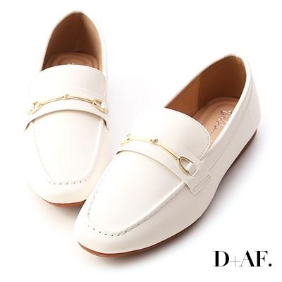 D+AF 百搭好感.馬銜釦小方頭樂福鞋*白
