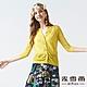 MYVEGA麥雪爾 微金蔥菱格紋路透膚針織罩衫-黃 product thumbnail 1