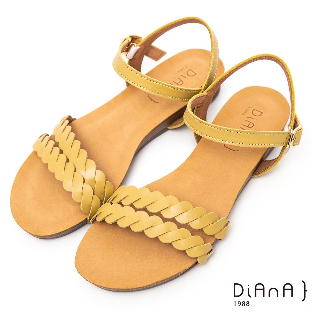 DIANA質感麻花編織牛皮3公分低跟圓頭S勾繫帶涼鞋-夏日百搭-黃