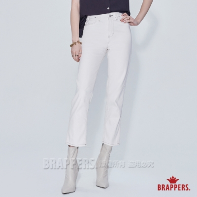 BRAPPERS 女款 Boy friend系列-中腰彈性九分中直筒褲-象牙白