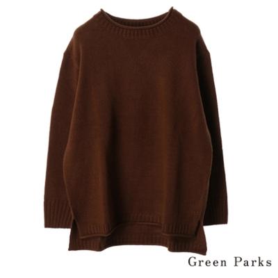 Green Parks 捲邊領口落肩針織上衣