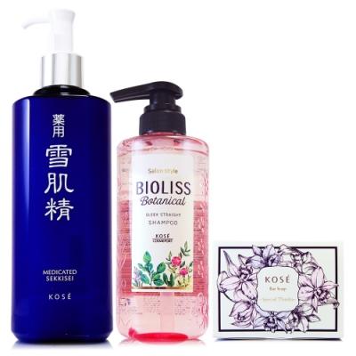 *KOSE高絲 雪肌精化妝水500ml贈苾歐莉絲植物系洗髮精480ml+花果水嫩泡泡香氛皂80g(正統公司貨)