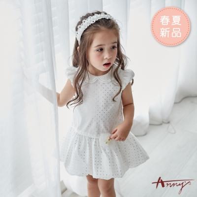 Annys安妮公主-繁星點點網紗蝴蝶結春夏款雙領公主袖洋裝*9152白色