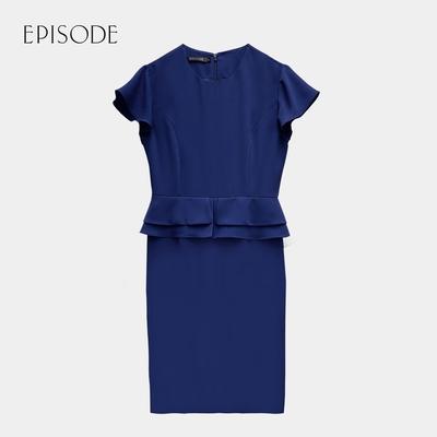 EPISODE - 知性優雅小圓領荷葉邊修身短袖洋裝(深藍)