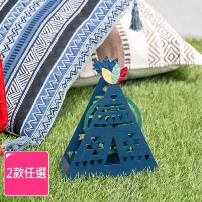 Meric Garden-創意手工印地安帳篷蚊香盒/薰香盤/小物收納盤(2款任選)