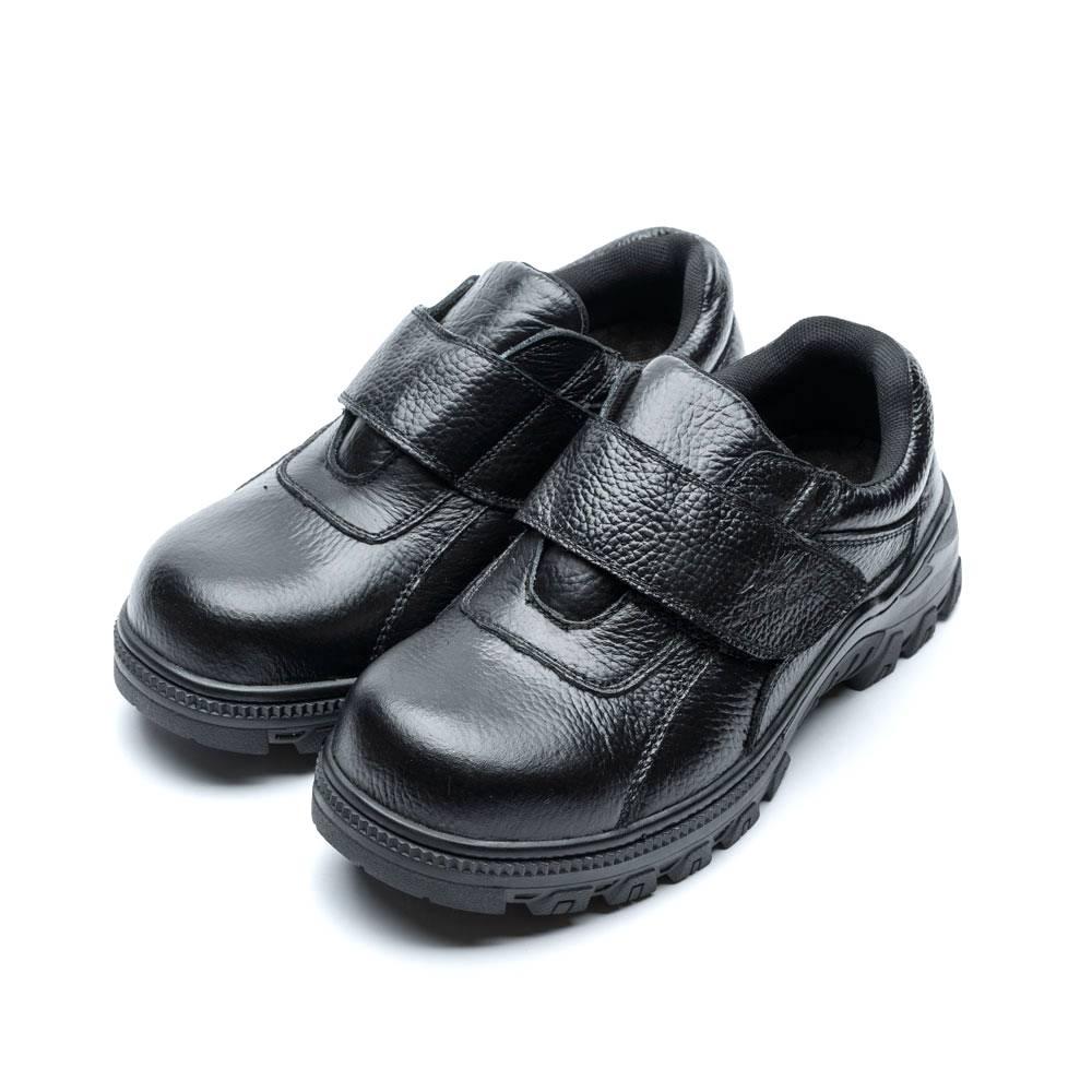 COMBAT艾樂跑男女鞋-魔鬼氈皮質工作鞋 鋼頭鞋-黑(FA498)