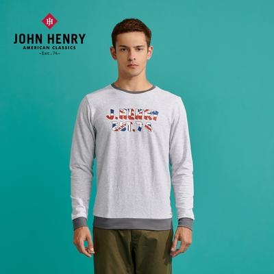 【JOHN HENRY】國旗文字印花長袖T恤 - 兩色選