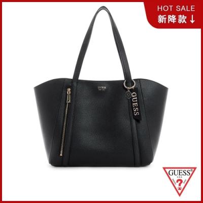 GUESS-女包-素面純色大容量手提托特包-黑 原價3690