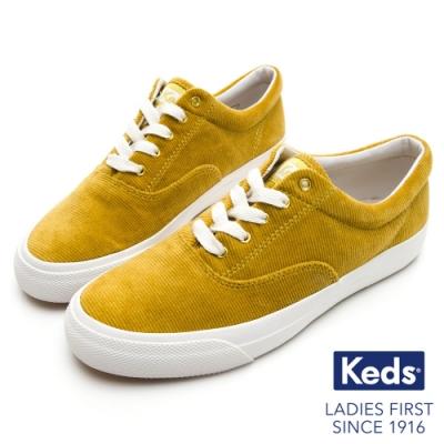 Keds ANCHOR 燈芯絨綁帶休閒鞋-黃綠