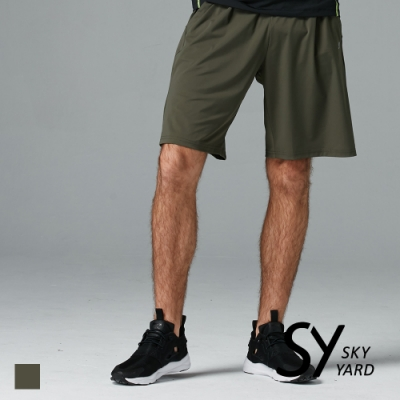 【SKY YARD 天空花園】素面立體剪裁運動短褲-墨綠