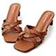 D+AF 迷人風尚.麻花編織方頭中跟拖鞋*棕 product thumbnail 1