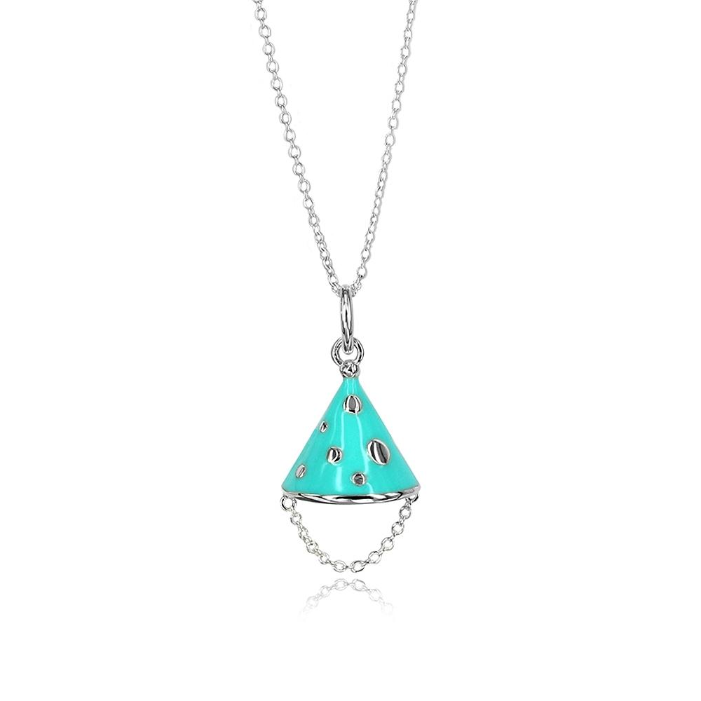 Tiffany&Co. 粉藍琺瑯 歡樂派對帽 純銀項鍊