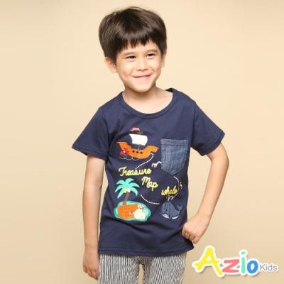 Azio 男童 上衣 帆船鯨魚印花口袋短袖T恤(藍)