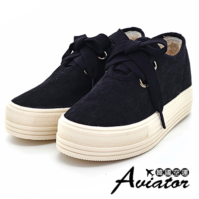 Aviator韓國空運-暖冬必備鋪毛綁帶顯瘦厚底鞋-黑