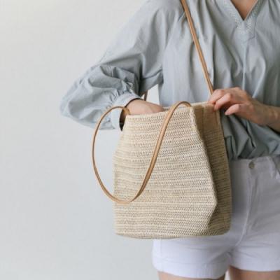 nologo 夏季簡約草編水桶包