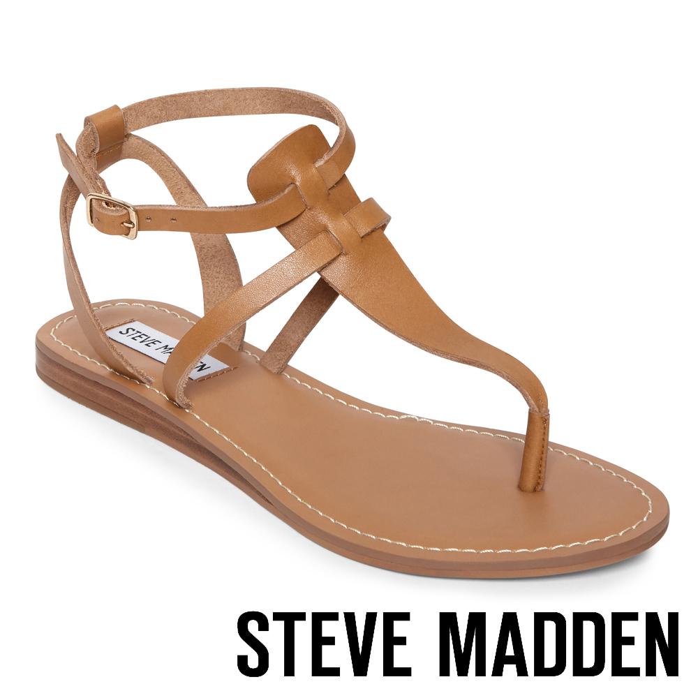 STEVE MADDEN UPON  經典真皮T字平底涼鞋-棕色