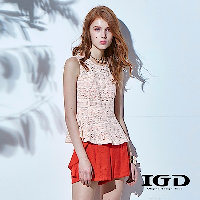 IGD英格麗 立體蕾絲荷葉下擺背心上衣-粉橘