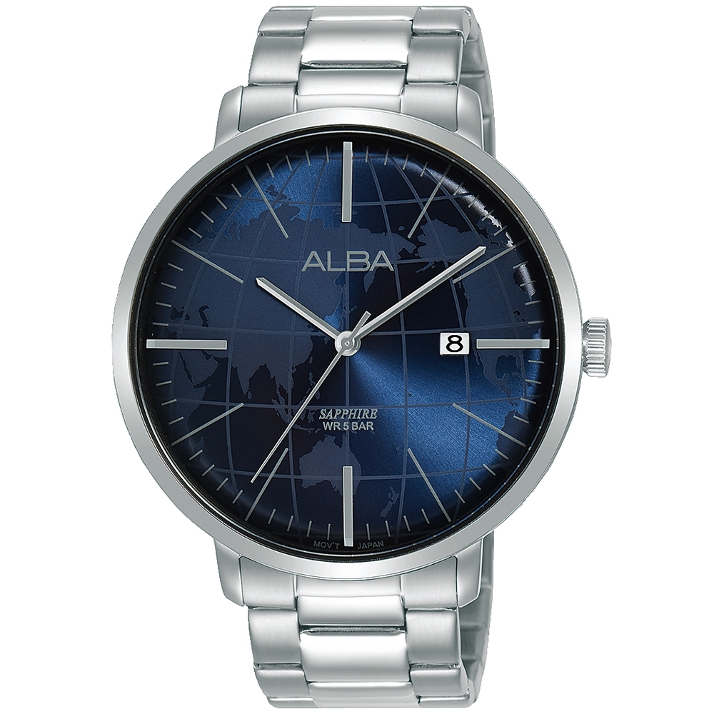 ALBA雅柏 世界地圖潮流手錶(AS9K61X1)-藍/43mm
