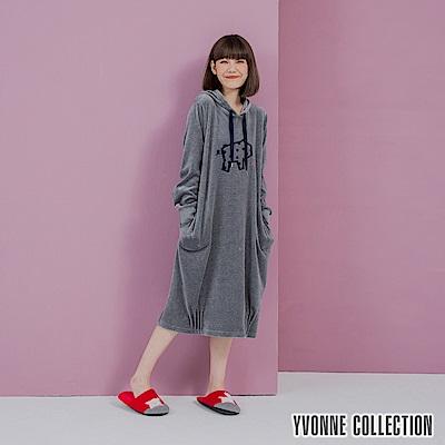 YVONNE剪毛布豬豬圖案連帽長袖洋裝- 暗灰