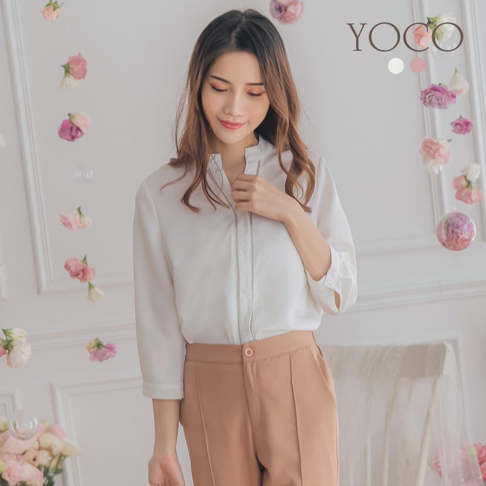 東京著衣-YOCO 知性優質開襟七分袖襯衫上衣-S.M.L(共兩色)