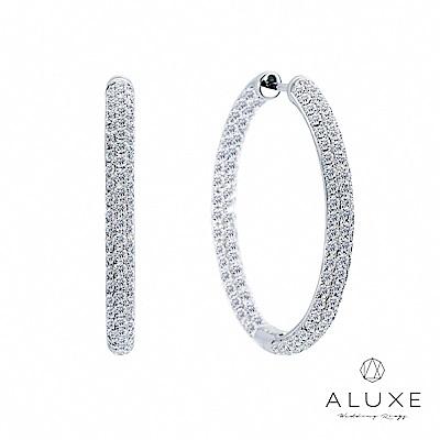 A-LUXE 亞立詩 18K金 大圈圈鑽石耳環-直徑3CM