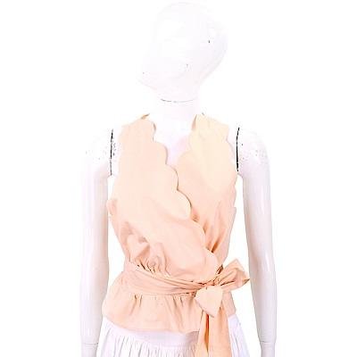 ELISABETTA FRANCHI 霧粉裸花瓣和服設計綁帶背心