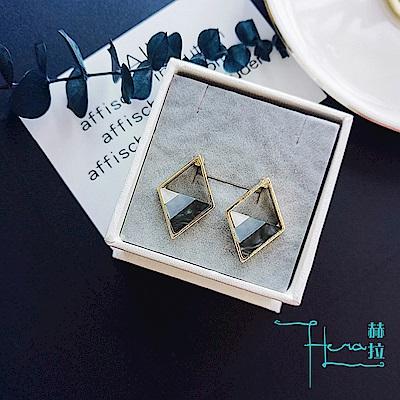 Hera 赫拉 S925銀針冷淡風耳釘韓國網紅森系耳環女三角菱形超仙個性複古氣質