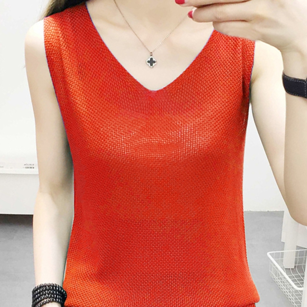 ALLK 歐楷 超彈力V領針織上衣 共12色(尺寸F 任選) (橘色)