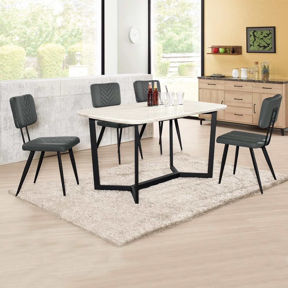 Boden-雷夫格4.7尺工業風石面餐桌椅組合(一桌四椅)-140x85x75cm