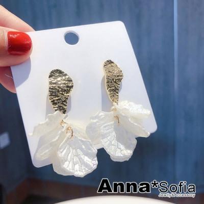 【3件599】AnnaSofia 波體波型裂紋瓣 歐美大型耳針耳環(金系)
