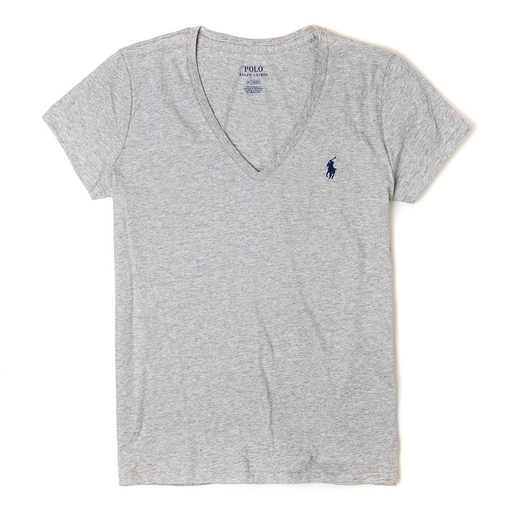 Polo Ralph Lauren 經典小馬V領素面短袖T恤(女)-灰色