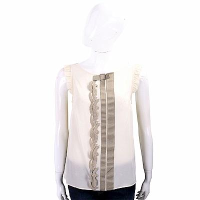 Max Mara-WEEKEND 羅緞織花米白色荷葉細節雪紡上衣