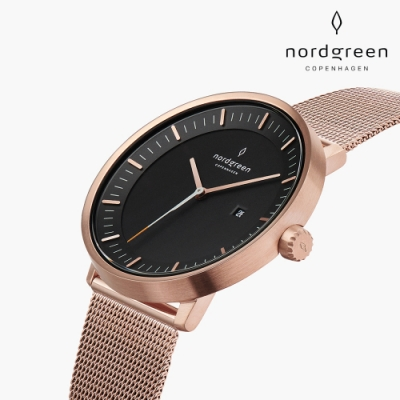 Nordgreen Christopher聯名 x Philosopher 哲學家 玫瑰金系列 玫瑰金鈦鋼米蘭錶帶手錶 40mm