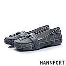 HANNFORT RIPPLE經典格紋氣墊樂福鞋-女-知性灰