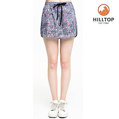 【hilltop山頂鳥】女款超潑水彈性抗UV假兩件式短褲S09F68紫印花