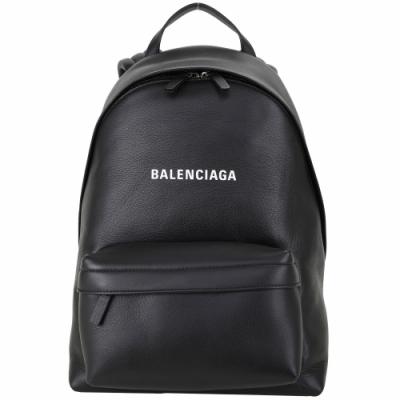 BALENCIAGA Everyday 小型 品牌字母小牛皮後背包(黑色)