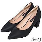 Ann'S加上優雅高跟版-莫蘭迪色沙發後跟尖頭鞋-黑